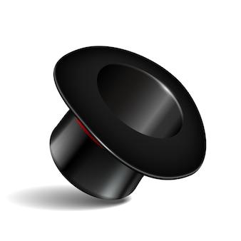 빨간 리본이 달린 검은 실린더 모자. 흰색 바탕에 마술 모자입니다. 삽화