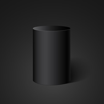 黒いシリンダー。丸い箱。