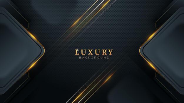 Черный темный абстрактный фон с золотыми линиями и прямоугольной современной роскошной концепцией