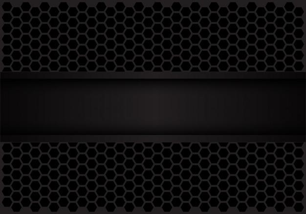 Black dark banner on hexagon mesh pattern background.