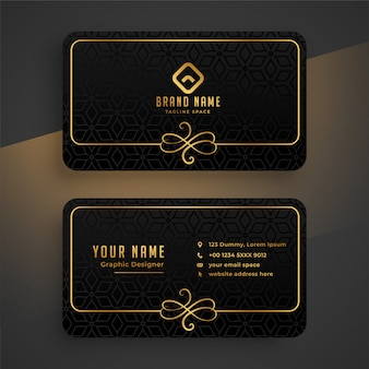 Black dark and golden business card template