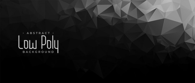 Black and dark low poly abstract geometric banner