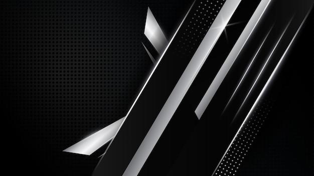 シルバーの幾何学的な曲線と黒のダークプラチナベクトルの背景は、モダンで豪華なデザインを形作ります