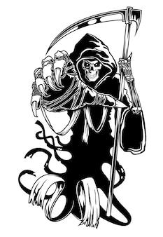 Black death with scythe Premium Vector