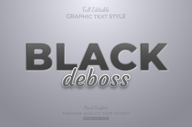 Black debossed editable text effect font style