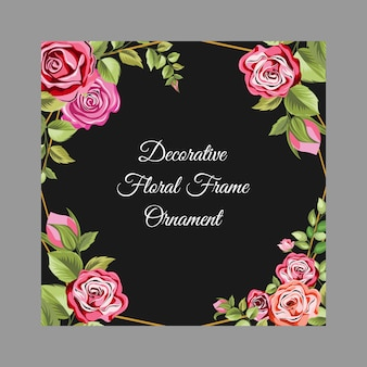 Black decorative frame with floral and leaves ornament