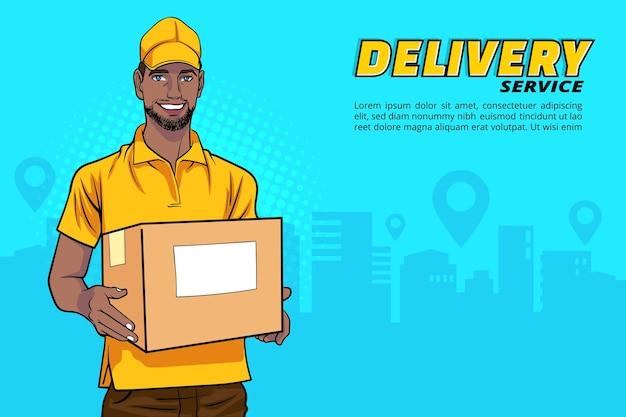 Black delivery man employee holding big cardboard box in retro vintage pop art comic style