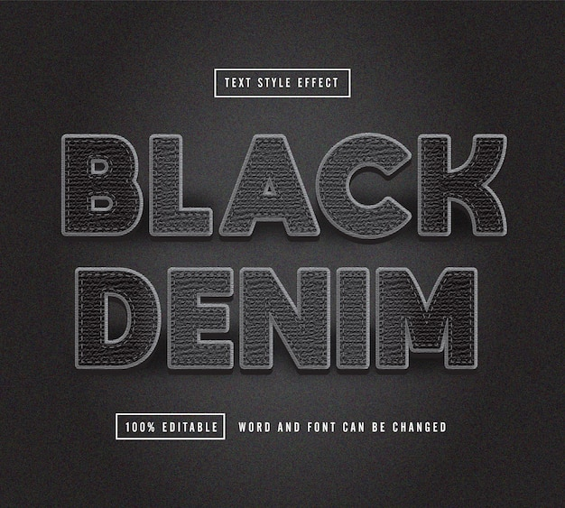 Black denim text effect editable