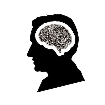 Black detailed mans face profile with brain brain with round messy doodle hatching in head, depression concept isolated on white