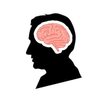 Black detailed mans face profile with pink realistic brain isolated on white