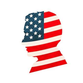 白で隔離の米国旗と黒の詳細な現実的な男の顔のプロファイル