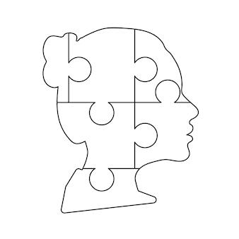 흰색으로 격리된 6개의 퍼즐 조각으로 구성된 검은색 상세한 여자 얼굴 프로필