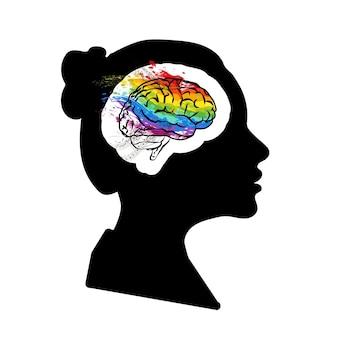 Черный подробный профиль лица женщины с творческим мозгом в голове, изолированные на белом