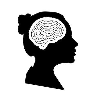 Черный подробный профиль лица женщины с мозгом лабиринта в голове, изолированном на белом