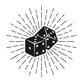 Черные кости для азартных игр с лучами иллюстрации