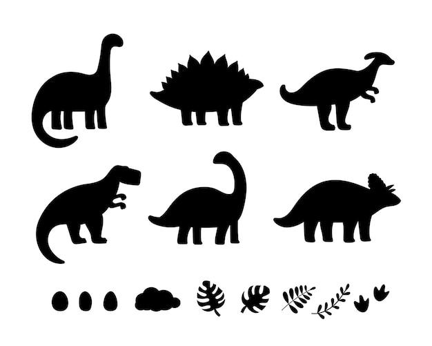 Силуэты черных динозавров для детей Premium векторы