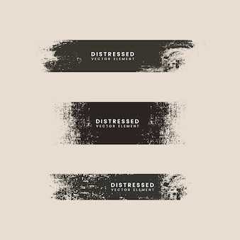 Black distressed textured badges vector set