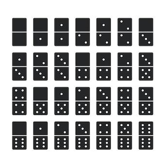 블랙 도미노. 도미노 게임 뼈 타일의 전체 세트, 흰색으로 격리된 28개의 도미노 조각