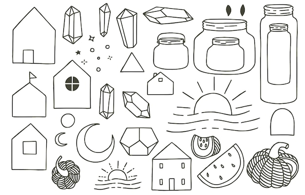 Black doodle obect with house,jar,fruit,moon,sun,crystal.  illustration for icon,logo,tattoo,accessories and interior