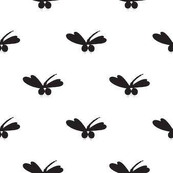 Черная стрекоза бесшовные модели. можно использовать в качестве обоев, оберточной бумаги, текстиля.