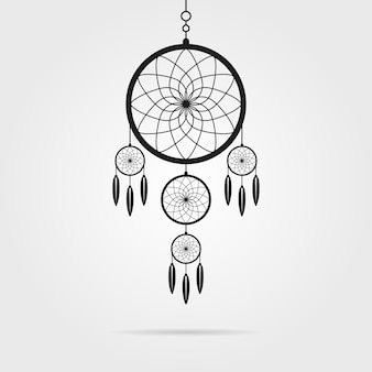 Black dream catcher with shadow