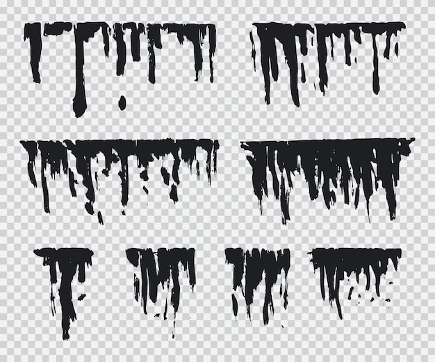Black drip vector set isolated on a transparent background.