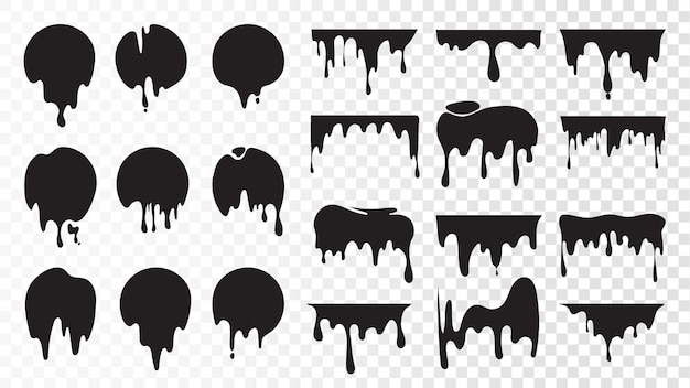 Black dripping ink. isolated spots of paint, floating oil blots set.