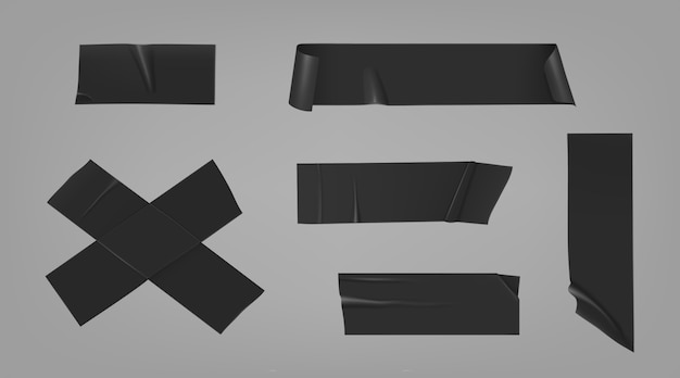 Black duct adhesive tape pieces