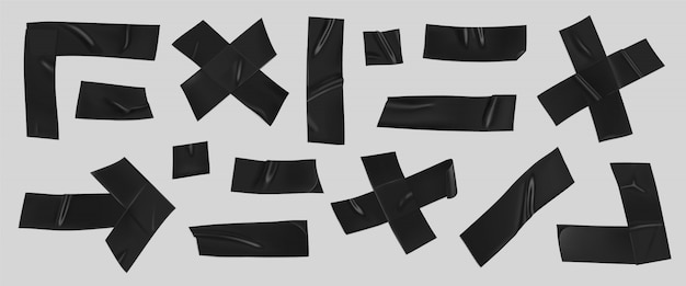 Black duct tape set. realistic black adhesive tape pieces for fixing isolated
