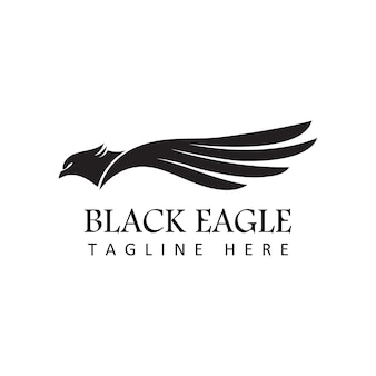 Black eagle logo template design vector in isolated white background