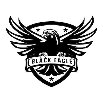 Black eagle mascot logo