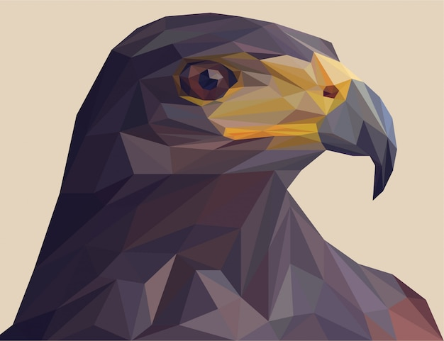Black eagle with polygonal vector style