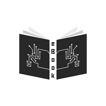 Black ebook with pcb elements. concept of ereader, tablet, e-learning, gadget, periodical press, schooling. isolated on white background. flat style trend modern logotype design vector illustration