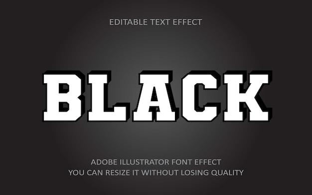 Black editable text effect