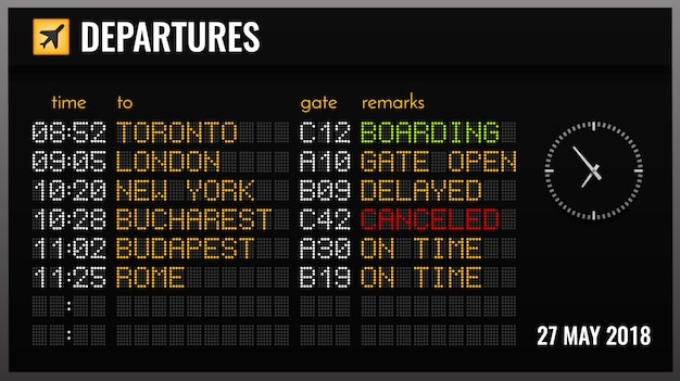 Black electronic airport board realistic composition with departures time gates and flight directions illustration