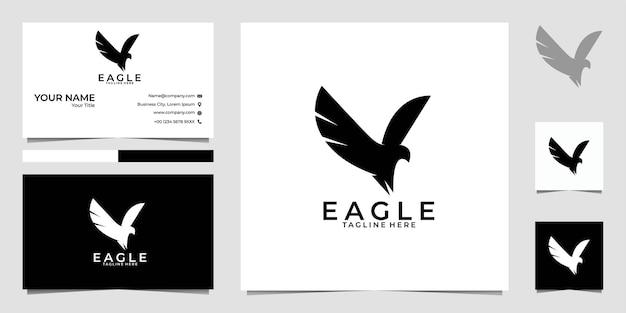 Черный элегантный логотип орла и визитная карточка