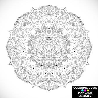 Black elegant mandala for coloring book