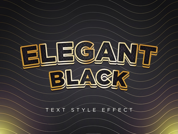 Black elegant text style effect with golden edges