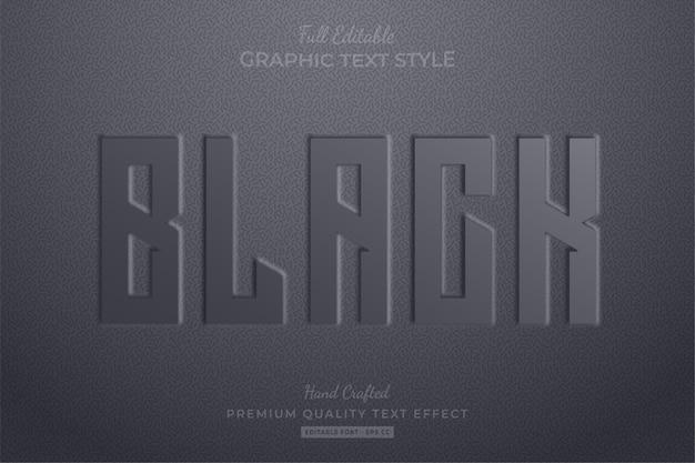 검정색 엠보싱 편집 가능한 텍스트 효과 글꼴 스타일