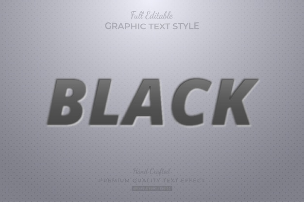 Black embossed editable text effect font style