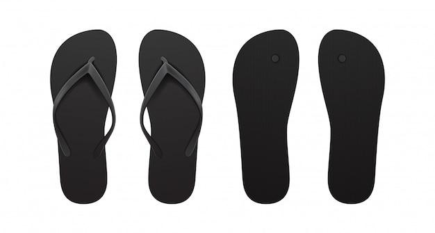 Black empty flip flop set.