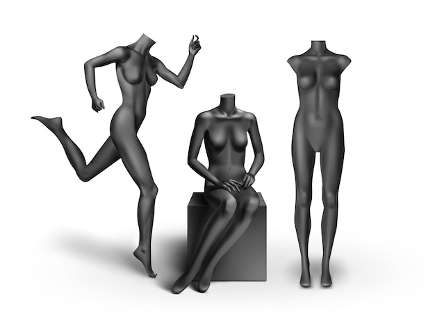 Black empty mannequins: standing, running, sitting isolated on white background