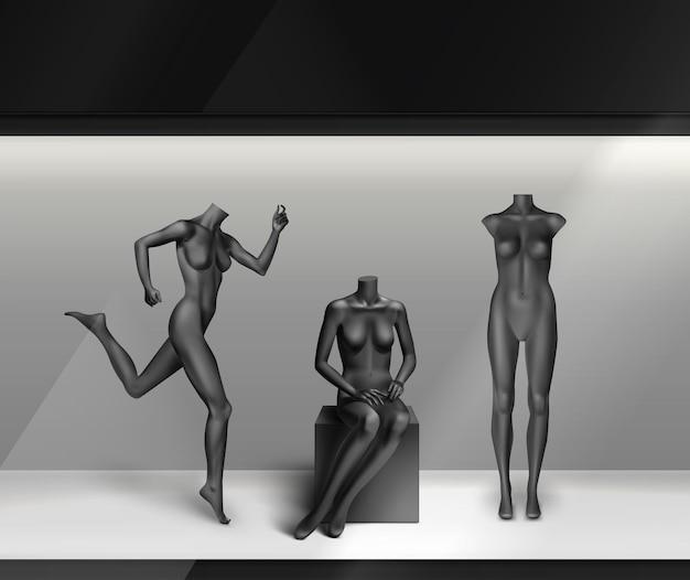 Black empty mannequins: standing, running, sitting in shop-window