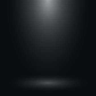 하나의 스포트라이트와 수평선 텍스처가있는 검은 색 빈 방.