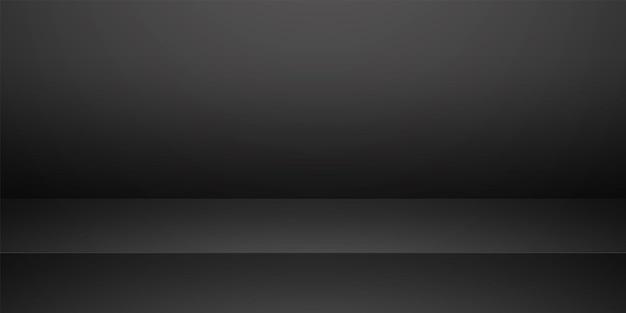 黒の空のスタジオルーム、製品の背景、表示用のテンプレートモックアップ
