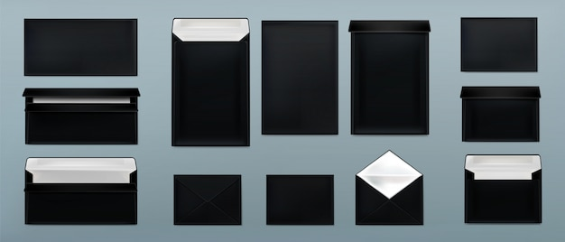 Black envelopes template set. blank paper covers