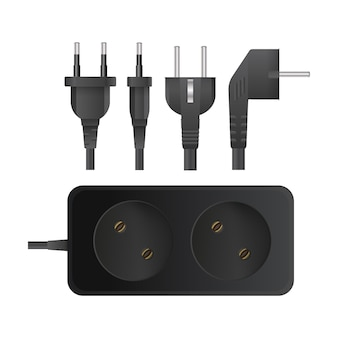 Black extension cord with two sockets. portable socket. set of plugs for sockets. realistic style. vector.