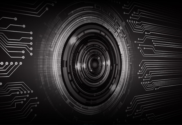 Black eye cyber circuit future technology concept background