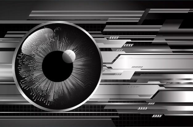 黒い目サイバー回路未来技術コンセプトの背景