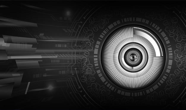 검은 눈 사이버 회로 미래 기술 개념 배경
